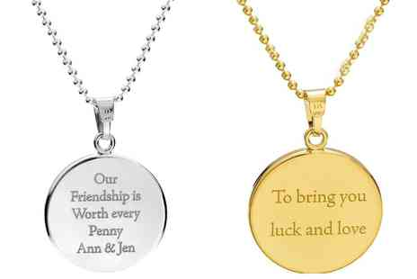 Jewells House - One, Two or Three Lucky Penny Necklaces with Engrave - Save 50%