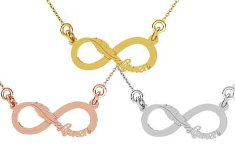 Jewells House - One, Two or Three Personalised Infinity Leaf Necklaces - Save 67%