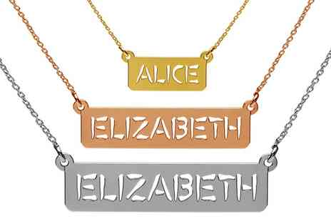 Jewells House - One, Two or Three Personalised Nameplate Bar Necklaces With Free Delivery - Save 69%