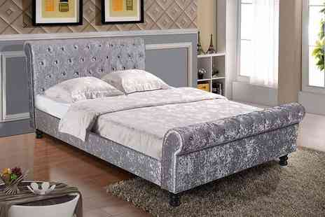 FTA Furnishing - Velvet sleigh bed or mattress choose from four sizes - Save 61%