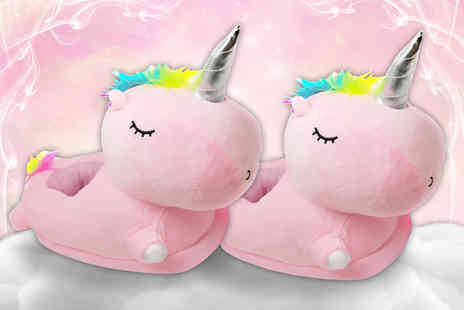 Craze UK - Pair of kids pink unicorn slippers - Save 58%