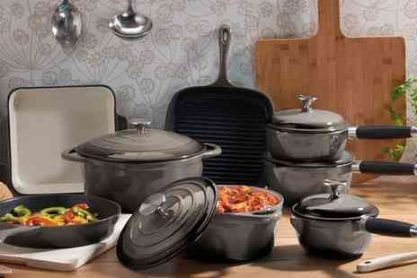 Groupon Goods Global GmbH - Cooks Professional Three, Five or Eight Piece Deluxe Cast Iron Pan Set With Free Delivery - Save 62%