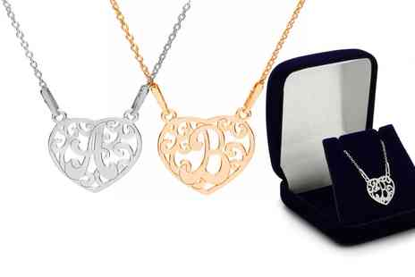 Jewells House - One, Two or Three Personalized Letter in Heart Necklaces With Free Delivery - Save 73%