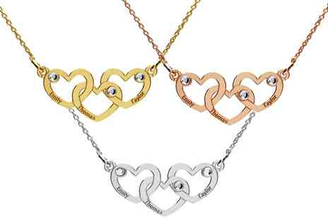 Jewells House - One, Two or Three Triple Hearts with Engrave and Crystals Necklaces - Save 67%