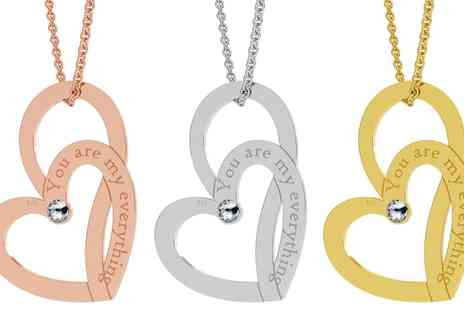 Jewells House - One, Two or Three Soul Hearts Necklaces with Engravings with Crystals from Swarovski With Free Delivery - Save 68%