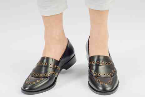 Forever Love Me London - Pair of ladies eyelet detail leather loafers in black or burgundy - Save 62%