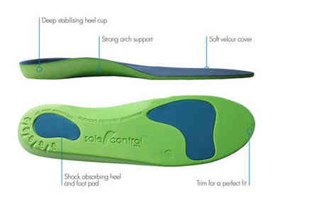 Sole Control - Pair of orthotic insoles choose from three colours - Save 81%
