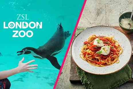 Buyagift - ZSL London Zoo entry for two and a three course meal with a glass of wine each - Save 24%