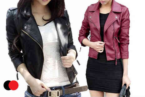 Bluebell Retail - Leather look cropped biker jacket choose from black or red - Save 0%