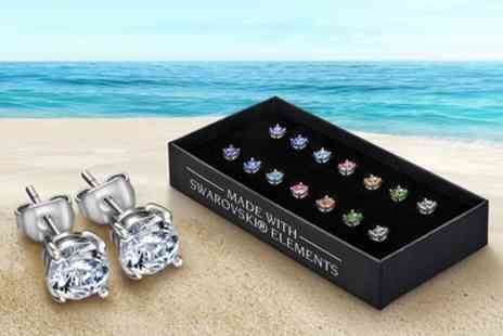 Groupon Goods Global GmbH - YV Brands Seven Piece Stud Earrings Set with Crystals from Swarovski - Save 90%