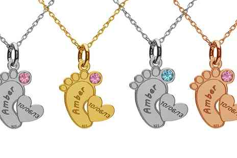 Jewells House - One, Two or Three Personalised My Baby Necklaces with Crystals from Swarovski With Free Delivery - Save 72%