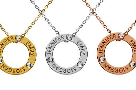 Jewells House - One, Two or Three Circle Necklaces with Engravings with Crystals from Swarovski With Free Delivery - Save 67%