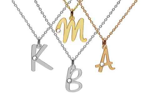 Jewells House  - One, Two or Three Personalised Letter Necklaces with Crystals from Swarovski® With Free Delivery - Save 69%