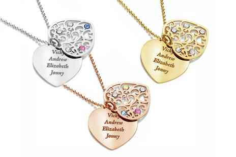 Jewells House - One, Two or Three Personalised Two Heart Necklaces with Crystals from Swarovski With Free Delivery - Save 65%