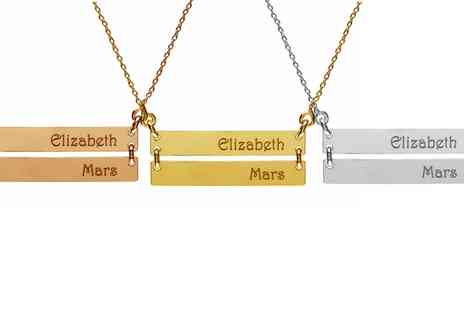 Jewells House - One, Two or Three Personalised Double Nameplate Bar Necklaces With Free Delivery - Save 71%