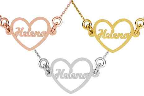 Jewells House - One, Two or Three Personalised Name in Heart Necklaces With Free Delivery - Save 69%