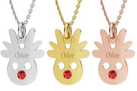 Jewells House - One, Two or Three Personalised Reindeer Necklaces with Crystals from Swarovski With Free Delivery - Save 64%