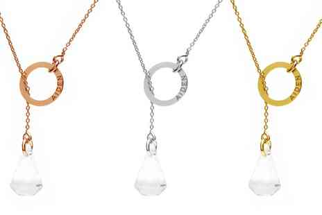 Jewells House - One, Two or Three Tie Necklaces with Engravings with Crystals from Swarovski With Free Delivery - Save 69%