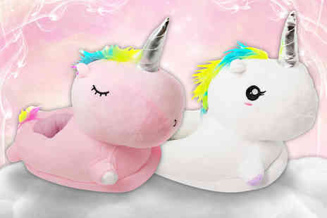Craze UK - Pair of adult unicorn slippers select from two colours - Save 46%