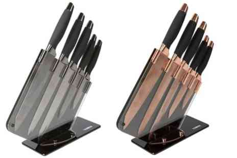 Groupon Goods Global GmbH - Tower Damascus Patterned Five Piece Knife Set with Acrylic Mirror Stand - Save 62%