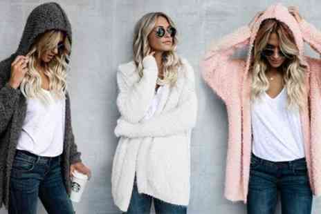 Groupon Goods Global GmbH - Fluffy Textured Hooded Cardigan - Save 0%