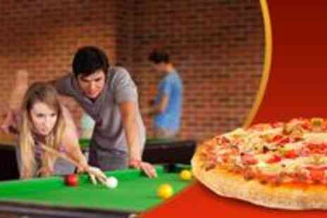 "The Ball Room - American or British pool or snooker for up to 4 people including a 10"" stonebaked pizza for each person - Save 71%"