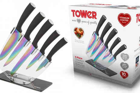 Giddy Aunt - Tower Five Piece Titanium Knife Set with Stand - Save 65%