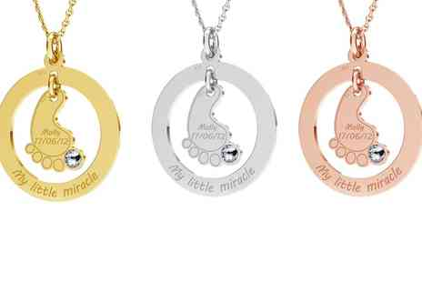 Jewells House - One, Two or Three Personalised Baby Foot with Crystal Necklace - Save 68%