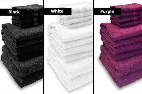Black Feather - 10 piece towel bundle choose from nine colours - Save 87%
