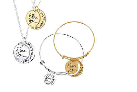 Solo Act - I love you to the moon and back necklace & bracelet set choose from two colours - Save 72%