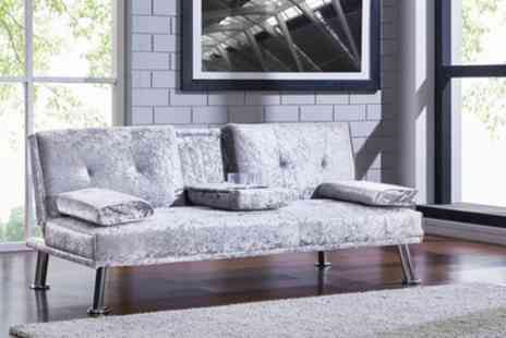 Groupon Goods Global GmbH - Crushed Velvet Sofa Bed with Cup Holder in Choice of Colour With Free Delivery - Save 55%
