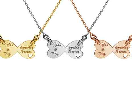 Jewells House - One, Two or Three Twinning Hearts Necklaces with Engrave With Free Delivery - Save 67%
