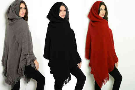 Boni Caro - Fringe hooded poncho choose from three colours - Save 80%