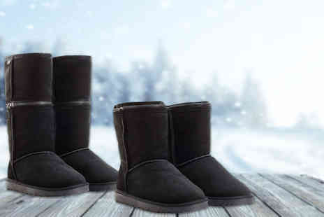 Shoeprimo - Pair of womens zippy boots choose from black or brown - Save 67%