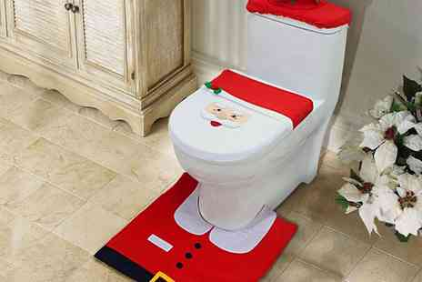 Groupon Goods Global GmbH - Three Piece Christmas Toilet Seat Cover Set in Choice of Design - Save 67%