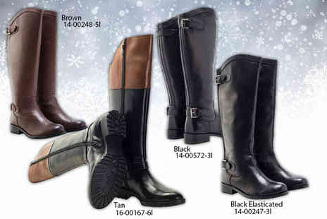 Shoeprimo - Ladies real leather riding boots choose from two designs - Save 67%