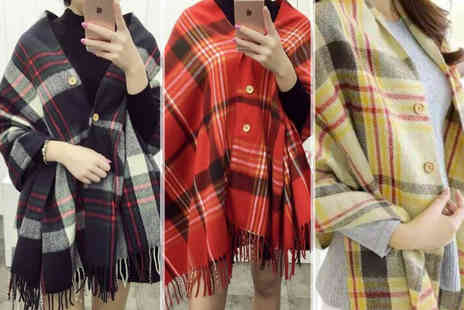 Boni Caro - Oversized button up tartan scarf choose from three colours - Save 85%