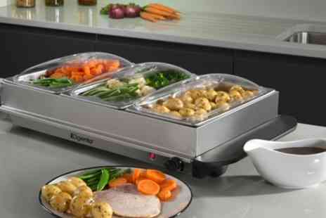 Groupon Goods Global GmbH - Elgento Three Tray Buffet Server Set - Save 71%