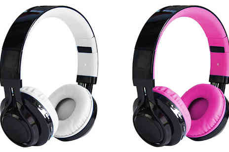 Goods Direct - Smartu Bluetooth Light Up Foldable Headphones Available in Four Colours - Save 75%
