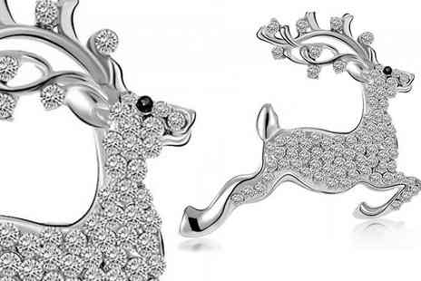Marcus Emporium - Simulated Crystal Reindeer Brooch - Save 90%