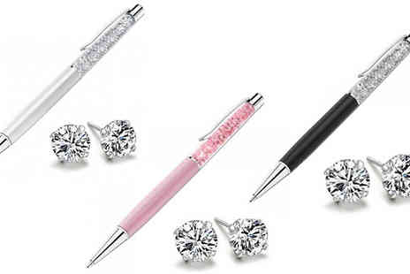 Romatco - Swarovski Elements Pen And Earrings Set in 3 Colours - Save 73%