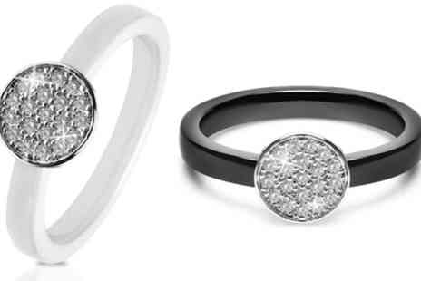 Groupon Goods Global GmbH - Ceramic Disc Pave Ring with Crystals from Swarovski - Save 87%
