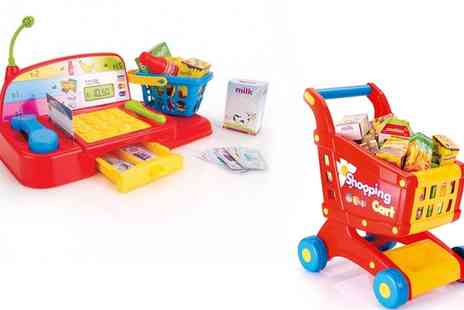 Groupon Goods Global GmbH - Dolu Toy Cash Register, Shopping Trolley With Food or Both - Save 0%