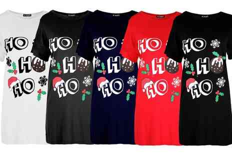 Groupon Goods Global GmbH - Be Jealous Ho Ho Ho Tshirt Dress - Save 0%