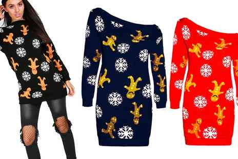 Groupon Goods Global GmbH - Be Jealous Gingerbread and Snowflakes Christmas Womens Off Shoulder Jumper - Save 0%