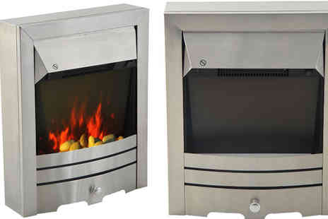 Mhstar - Homcom 2KW Stainless Steel Electric LED Pebble Burning Effect Fireplace Heater - Save 60%