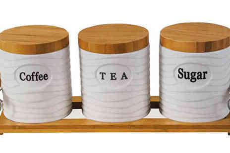 Direct 2 public - Set of 3 Tea, Sugar and Coffee Canisters Choose from Two Designs - Save 50%