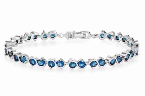 GameChanger Associates - Linked bracelet featuring blue zircons - Save 87%