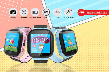 Spot Promotions - Child safety GPS tracker smart watch choose from blue or pink - Save 83%