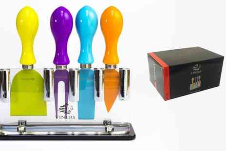 Groupon Goods Global GmbH - Viners Coloured Four Piece Cheese Knife Set with Stand - Save 55%